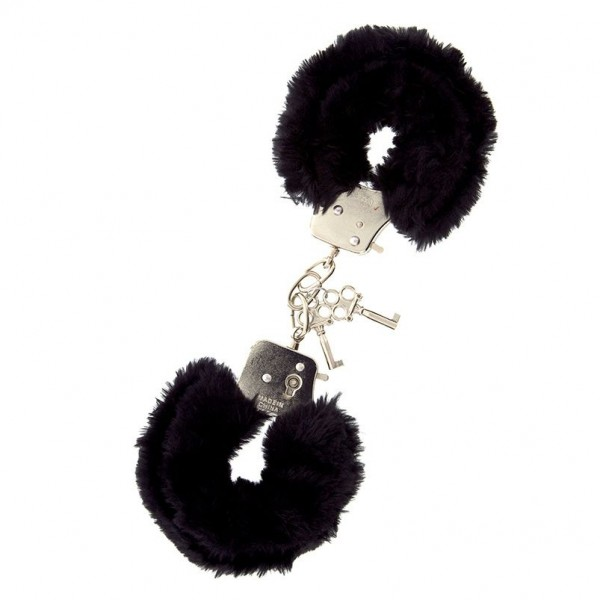 Furry Metal Handcuffs Black