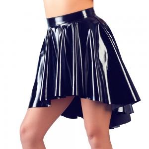 Black Vinyl Asymmetrical Rock Skirt