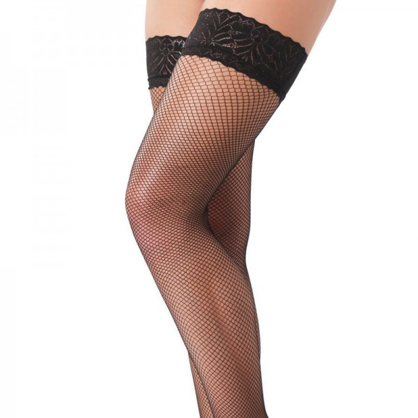 Black Fishnet Floral Hold Up Stockings